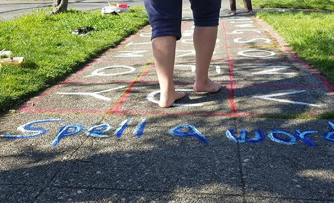 """spell a word"" sidewalk game"